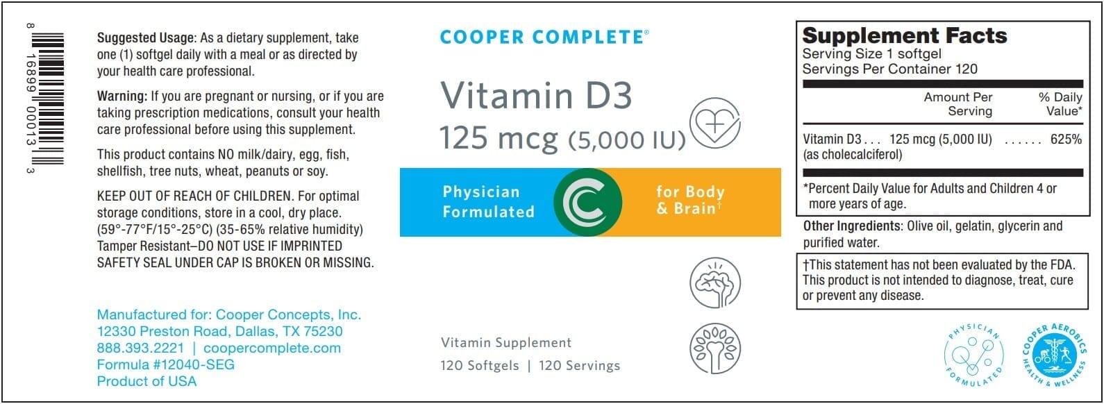 Vitamin D3 125 mcg Label From Cooper Complete