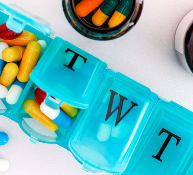 Multivitamins in a weekly pill container