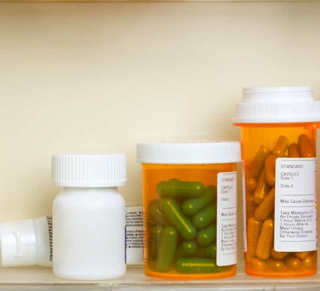 expired medication in a cabinet