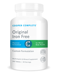 Picture of a bottle of Cooper Complete Original Iron Free, Cooper Iron Free, Cooper multivitamin, Cooper Complete Iron Free, Cooper Original Multivitamin Iron Free