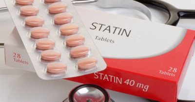 Statin medication set out on a table