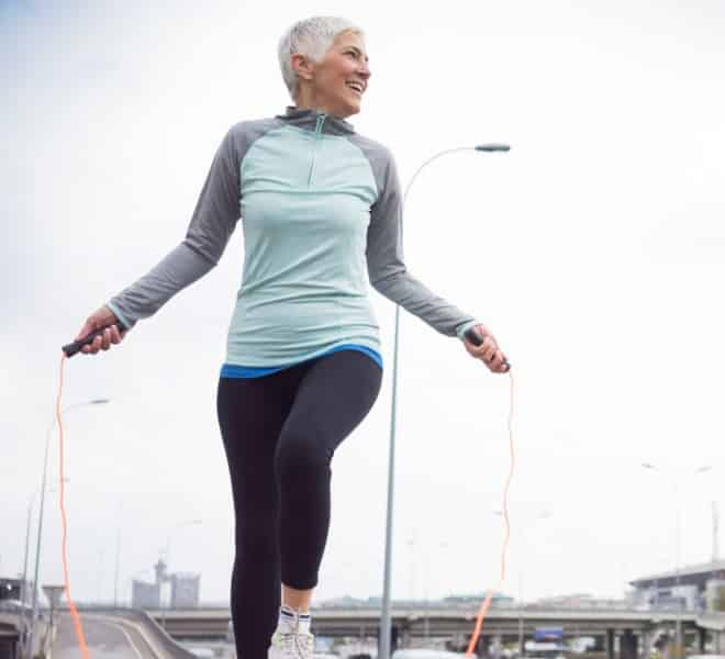 woman fighting diabetes with exercise