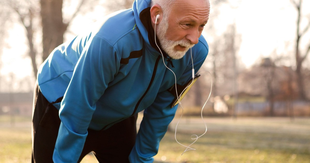 Man working out outside after supplementing with iron