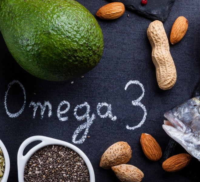 Omega 3 sources of fish and sees on a table