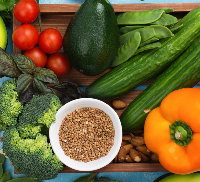 Vitamin D rich foods prepared on a table