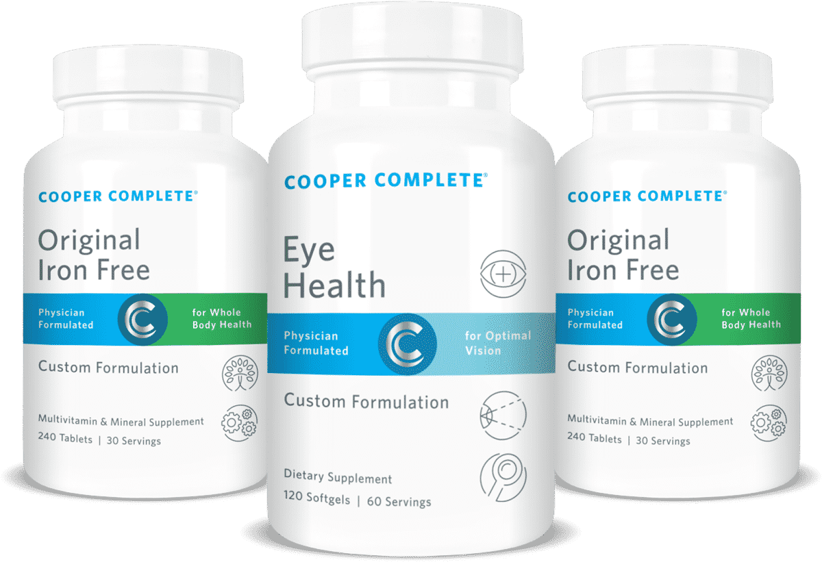 Image of two bottles Cooper Complete Original Iron Free Multivitamin and Mineral Formulation and one bottle Cooper Complete Eye Health