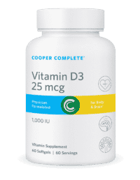 Cooper Complete Vitamin D3 25 mcg or 1000 IU Bottle