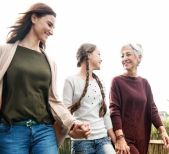 Photo of three multi-generational women in a family. Dr Radford explains nutritional deficiencies in aging adults and struggles for the sandwich generation of people who care for them