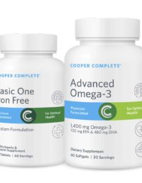 2 bottles Cooper Complete nutritional supplements with 1 Advanced Omega-3 fatty acids and 1 Basic One Iron Free multivitamin