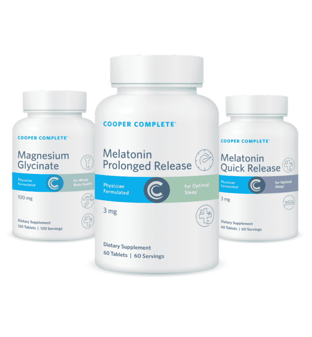 Cooper Complete Sleep bundle product bottles Prolonged and Quick Release Melatonin and Magnesium Glycinate