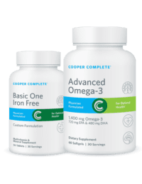 Cooper Complete Healthy Body Pack Bundle bottles of Basic One Iron Free multivitamin and Advanced Omega-3 fatty acids